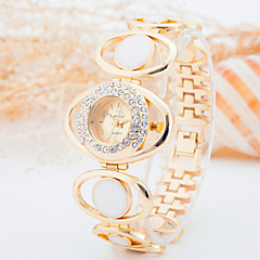 Fashion Watch Simulated Diamond Watch Quartz Rose Gold Plated Alloy Band Gold