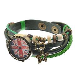 Bracelet Watch Quartz Leather Band Black Green