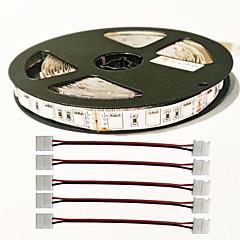 z®zdm 5m 72W 300pcs 5050 5red 1 Blue -solujen / johtama kasvi valonauha 4kpl 5050 liitin DC12V