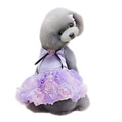 Dog Dress Dog Clothes Summer Flower Cute Wedding Fashion Gray Purple Pink