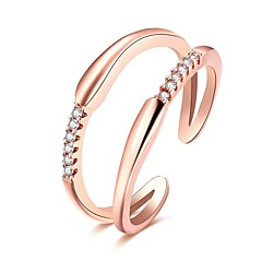 Ring Daily Casual Jewelry Rose Gold Zircon Copper Silver Plated Rose Gold Plated Ring 1pc,Adjustable Silver Rose Gold