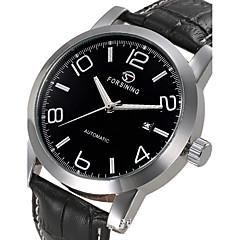 גברים לנשים יוניסקס שעוני ספורט שעוני שמלה שעוני שלד שעוני אופנה שעון יד שעון מכני אוטומטי נמתח לבד עור אמיתי להקה מזל יום יומי יוקרתי