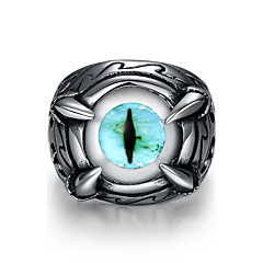 Stainless Simulated Aquamarine/Blue Evil Eye Ring for Man Cheap Punk Man's Jewelry Wholesale Size 8 9 10 11 12 GMYR234