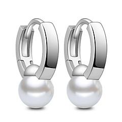 Χωρίς Πετράδι Απομίμηση Μαργαριτάρι Κρίκοι Κοσμήματα Γάμου Πάρτι Καθημερινά Causal Ασήμι Στερλίνας 1 ζευγάρι Ασημί