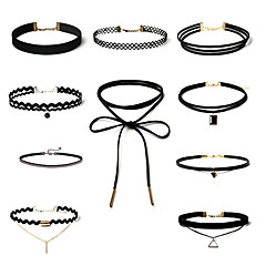 Women's Jewelry Set Choker Necklaces Tattoo Choker Rhinestone AAA Cubic Zirconia Bowknot Geometric Y Shaped Lace AlloyBasic Fashion