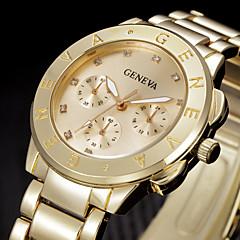 Bayanların Moda Saat Bilek Saati Quartz Yapay Elmas Paslanmaz Çelik Bant Havalı Gümüş Altın Rengi Altın Gümüş Gül