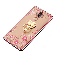 For Rhinsten Belægning Ringholder Transparent GDS Etui Bagcover Etui Blomst Blødt TPU for HuaweiHuawei P9 Huawei P9 Lite Huawei P9 Plus
