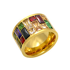 Trendy Rainbow Stone Crystal Ring For Women Gold Plated 316L Stainless Steel Party Mulitcolor CZ Female Ring