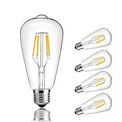 4W E27 LED-glødepærer ST64 4 COB 360 lm Varm hvit Kjølig hvit Dekorativ AC 220-240 V 5 stk.