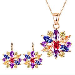Damskie Bridal Jewelry Sets Multi-kamień Rhinestone Kwiaty biżuteria kostiumowa Kamień szlachetny Stop Flower Shape 1 Naszyjnik 1 parę