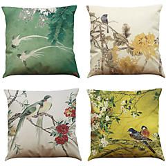 4 szt Bielizna Naturalne / ekologiczne Poszewka na poduszkę Pokrywa Pillow,Textured StałyBiuro / Biznes Tradycyjny / Classic Styl plażowy