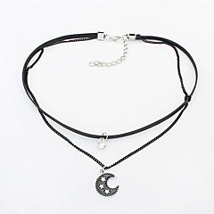 Damen Halsketten Strass Aleación MOON Doppelschicht Modisch Euramerican Schwarz Schmuck Party Alltag 1 Stück