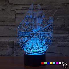 1pcs 7color 3d Nachtlicht ändern LED-Lampe Millennium Falcon für Kinder Beleuchtung Hauptdekor Tischlampe Nachtlicht führte