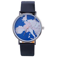 Women Fashion Watch Wrist watch Quartz Leather Band Charm Cool Casual World Map Pattern Unique Creative Black White Silver Gold