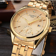CHENXI Men's Dress Watch Fashion Strap Watch Calendar Simulated Diamond Watch Japanese Quartz Imitation Diamond Alloy BandSparkle Luxury Wrist Watch