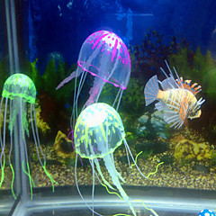 Aquarium Decoration Ornament Jellyfish Noiseless Non-toxic & Tasteless Artificial Adjustable Silicone Random Color