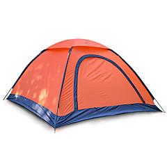 2 사람 텐트 싱글 접이식 텐트 원 룸 캠핑 텐트 1000-1500 mm 유리 섬유 옥스퍼드 방수 휴대용-하이킹 캠핑-오렌지