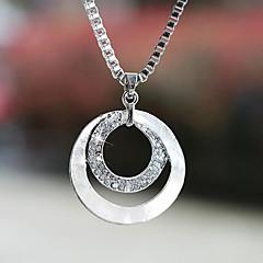Dame Halskædevedhæng Cirkelformet Sølvbelagt Simuleret diamant Legering Enkelt design kostume smykker Mode Smykker Til Bryllup Fest