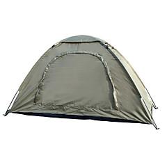 1 사람 텐트 싱글 접이식 텐트 원 룸 캠핑 텐트 2000-3000 mm 유리 섬유 옥스포드 방수 휴대용-하이킹 캠핑-