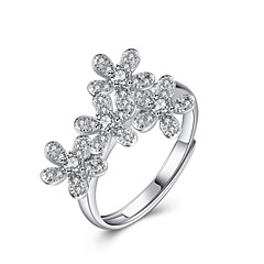 Ring AAA Cubic ZirconiaBasic Unique Design Flower Style Rhinestone Natural Geometric Friendship Cute Style Euramerican Crossover Fashion