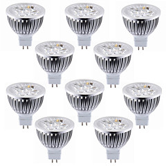 10pcs 4w mr16 (gu5.3) 4 high power led 450-500lm warm / cool wit led spotlight lamp dc12v