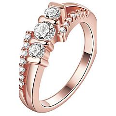 Pierscionek Pierścionek zaręczynowy Kryształ Modny Osobiste euroamerykańskiej luksusowa biżuteriaKryształ Miedź Pozłacane Pokryte różowym