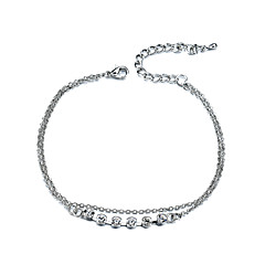 Lureme Sexy Jewelry Metal Silver Plated with Cubic Zirconia Anklet Foot Jewelry