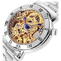 Dames Skeleton horloge Modieus horloge mechanische horloges Automatisch opwindmechanisme Waterbestendig Legering Band Zilver Roze