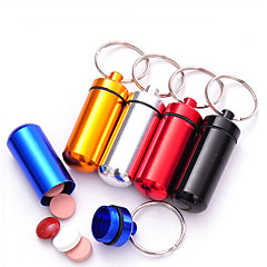 Aluminum Travel Pill Box/Case Waterproof Portable Travel Accessories for Emergency Keychain Container