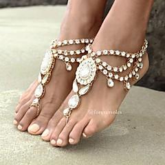 Kadın Ayak bileziği/Bilezikler Yapay Elmas alaşım Moda Bohemia Stili Flower Shape Mücevher Için Günlük 1pc