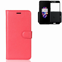 Case for One Plus 5 Cover Card Holder Wallet with Stand Flip Full Body Case Solid Color Hard PU Leather (with Full Screen Toughened Film 1PCS)