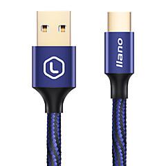 Type-C Guldbelagt Hurtig opladning Flettet Kabel Til Samsung Huawei Sony Nokia HTC Motorola LG Lenovo Xiaomi cm Aluminium Nylon