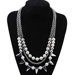 Dame Kort halskæde Halskæder med flere lag Imiteret Perle Smykker Imiteret Perle Legering Enkelt design Perle Lyserød Natur Venskab
