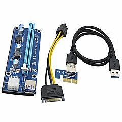 Upgrade Edition PCI-E Riser Card 1X to 16X PCI Extension Cable USB3.0 Cable 60cm SATA to 6Pin Power for BTC Ming