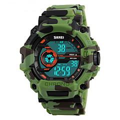 SKMEI Herre Sportsur Militærur Armbåndsur Digital LCD Kalender Vandafvisende Dobbelte Tidszoner alarm Stopur Selvlysende i mørke Gummi