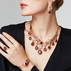 Mulheres Conjunto de Jóias Pulseira Anel Moda Bijuterias Destaque Jóias de Luxo bijuterias Strass 18K ouro Caído Brincos Colar Pulseira