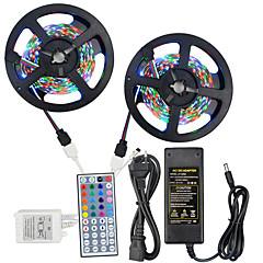 HKV® 1 Pcs 10M(2*5M) NO-Waterproof 3528 RGB 300LED RGB Strip Flexible Light 44Key IR Remote Controller 5A Power Supply AC 110-240V