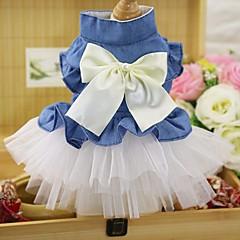 Γάτα Σκύλος Φορέματα Smoching Ρούχα για σκύλους Πάρτι καουμπόη Καθημερινά Γάμος Φιόγκος Λευκό Ροζ
