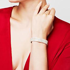 Damskie Bransoletka Bransolety Tenis Rhinestone Modny Ślubny luksusowa biżuteria Elegancki Kryształ górski Posrebrzany Imitacja diamentu
