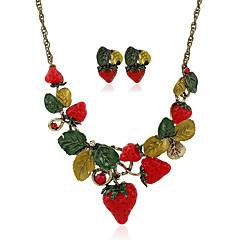 1Set Women's Earrings Set Pendants Statement Necklaces Flower Style Dangling Style Pendant Tassel Ferroalloy Metal Alloy Resin Rhinestone