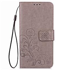 Case voor huawei eer 6x 8 case cover kaarthouder portemonnee met tribune flip reliëf volledige body case vaste kleur bloem hard pu leer