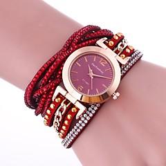 Dame Modeur Armbåndsur Unik Creative Watch Simuleret Diamant Ur Kinesisk Quartz Imiteret Diamant PU Bånd Charm Armbånd Afslappet Elegante