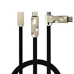 2 i 1 usb2.0 fladt kabel til samsung huawei sony nokia htc motorola lg lenovo xiaomi 100 cm pvc