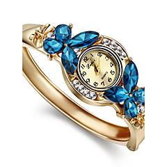 Bayanların Moda Saat Bilezik Saat Quartz imitasyon Pırlanta Alaşım Bant Halhal Zarif Altın Rengi Beyaz Mavi Gökküşağı