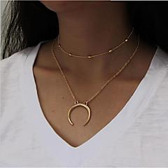 Damskie Warstwy Naszyjniki Księżyc Stop Modny Multi-sposoby Wear Biżuteria Na Codzienny Casual