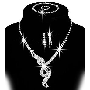 Dames Sieraden set - Strass, Verzilverd Schakels / ketting, Verstelbaar, Modieus omvatten Oorknopjes Druppel oorbellen Bib ketting Zilver Voor Bruiloft Feest Lahja / Ringen / Oorbellen / Kettingen