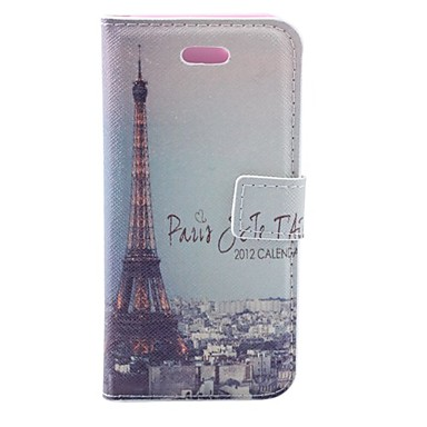 Effle Tower at Dawn Pattern PU Full Body Case with Card Slot and PC Back Cover for iPhone 5/5S