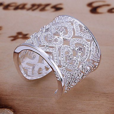 Ring Heart Heart Adjustable Daily Jewelry Sterling Silver Women Statement Rings 1pc,Adjustable Silver