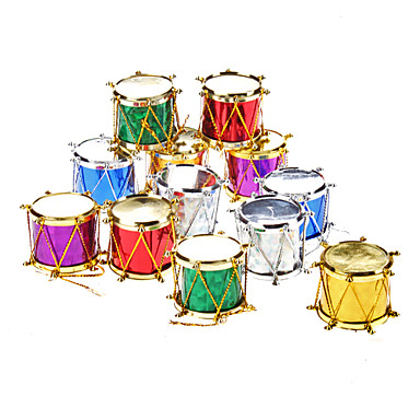 """12-Pack 3cm 1"""" Sequin Drums Christmas Ornaments Pack"""
