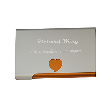 Personalized Heart Pattern Engraved Business Card Holder